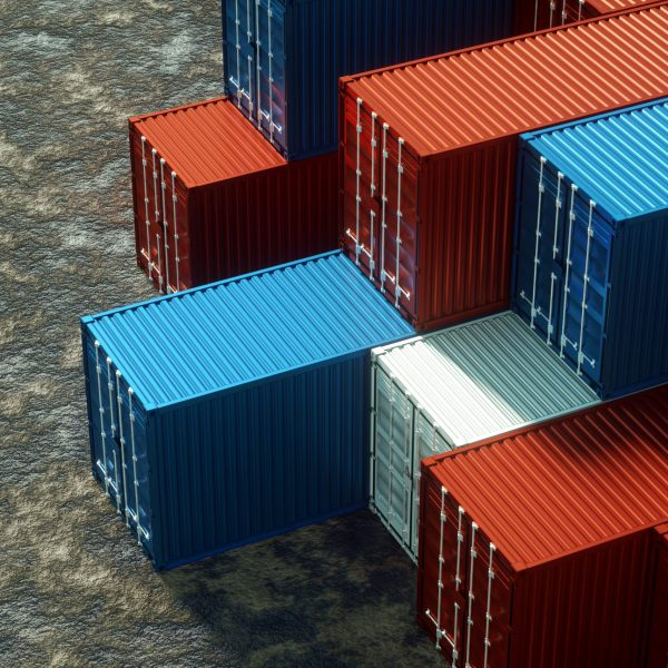 Multi-colored sea containers, industrial port with containers, cargo containers. Logistics concept, fast delivery. 3D rendering, 3D visualization, 3D illustration